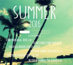 2016 summer calendar